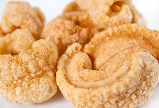 Filipino chicharron made of pork rind,salted and deep fried
